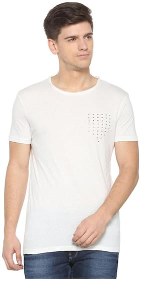 People Men Regular fit Crew neck Solid T-Shirt - White