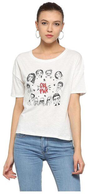 People Women Printed Round Neck T-Shirt - White
