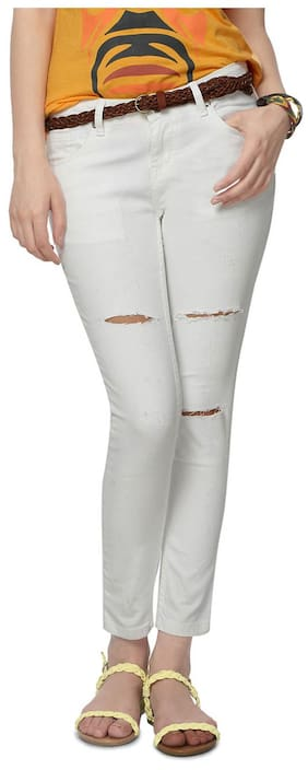 People White Cotton Slim Fit Jeans