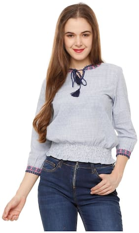 Women Striped Tie up Top