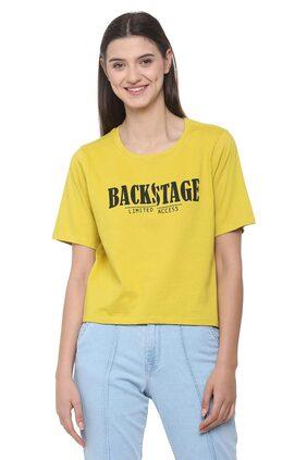 People Printed Yellow T Shirt