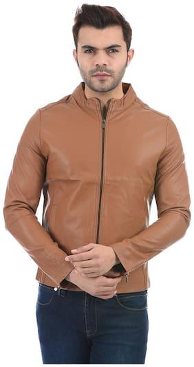 Men Faux Leather Long Sleeves Biker Jacket