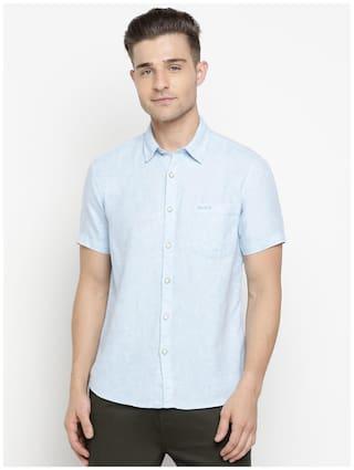 Pepe Jeans Men Blue Solid Regular Fit Casual Shirt