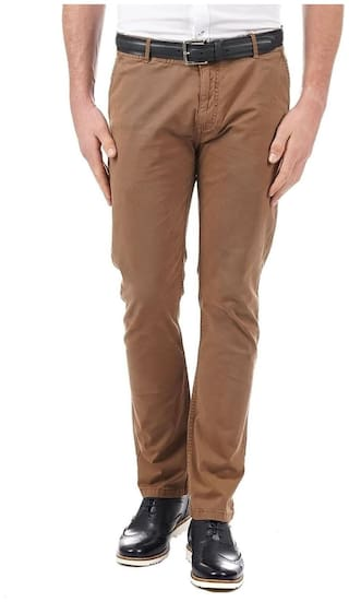 Pepe Jeans Men Brown Solid Slim fit Chinos