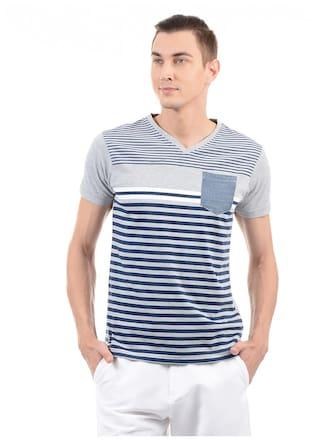 1fca91bce5b3 Buy Pepe Jeans Men Regular Fit V Neck Striped T-Shirt - Grey Online ...
