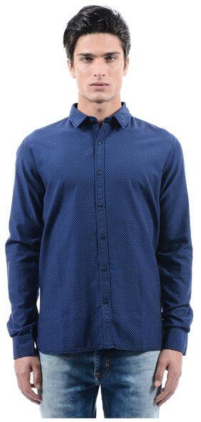 Pepe Jeans Men Polka Print Dark Blue Shirts