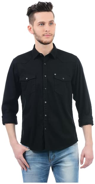 Buy Pepe Jeans Men Black Solid Regular Fit Casual Shirt Online At Low Prices In India Paytmmall Com