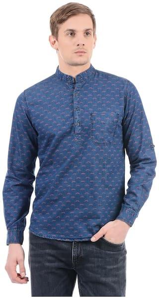 Pepe Jeans Men Blue Printed Slim Fit Casual Shirt