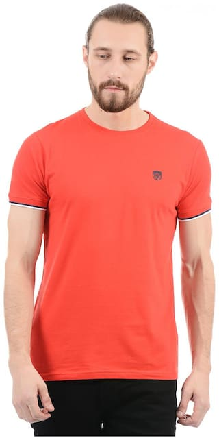 Pepe Jeans Men Red Regular fit Cotton Round neck T-Shirt - Pack Of 1