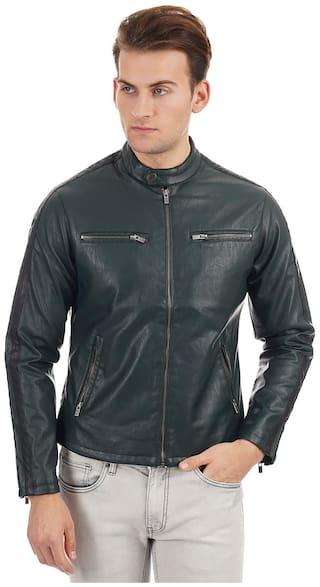 Pepe Jeans Men Green Solid Biker jacket