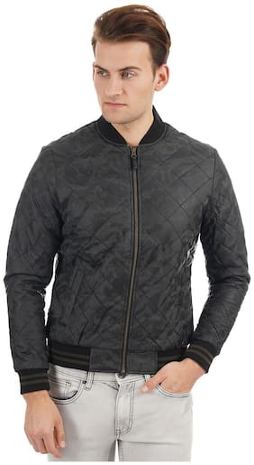 Men PU Long Sleeves Bomber Jacket