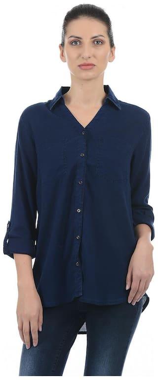 Pepe Jeans Women Blue Solid Regular Fit Shirt