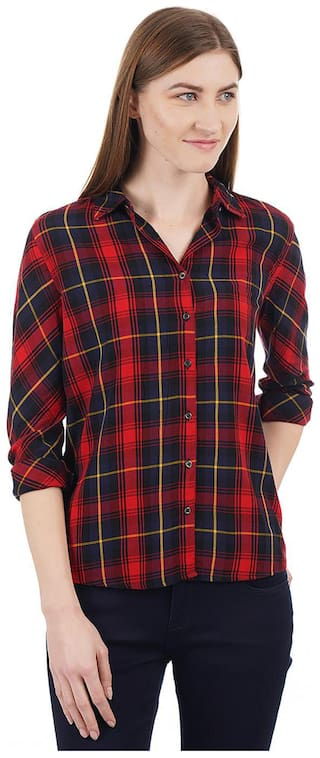 Pepe Jeans Women Red Checked Regular Fit Shirt