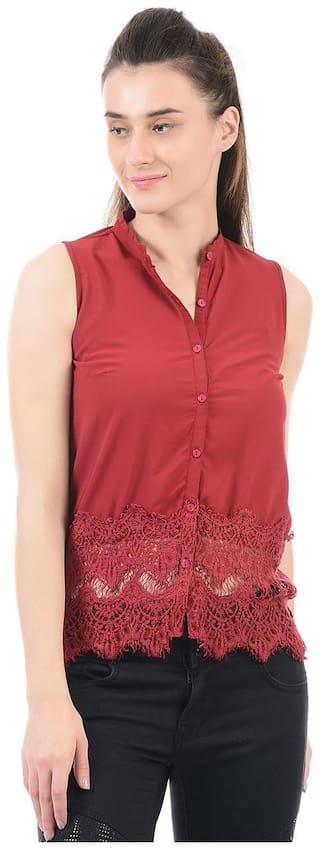 Pepe Jeans Women Maroon Solid Regular Fit Shirt