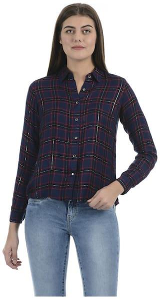 Pepe Jeans Women Navy Blue Checked Regular Fit Shirt