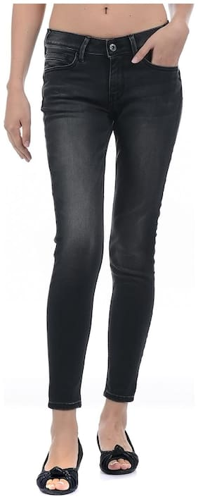 Pepe Jeans Women Slim Fit Mid Rise Solid Jeans - Black