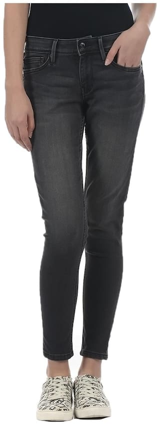Pepe Jeans Women Skinny Fit Mid Rise Solid Jeans - Black