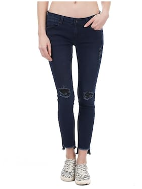 Pepe Jeans Women Super Skinny Fit Mid Rise Solid Jeans - Blue