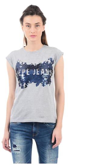Pepe Jeans Printed Grey T Shirt