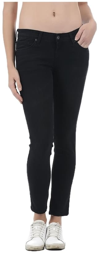 Pepe Jeans Women Super Skinny Fit Low Rise Solid Jeans - Black