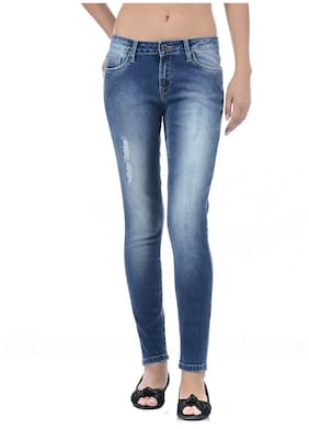 Pepe Jeans Women Slim Fit Mid Rise Solid Jeans - Blue
