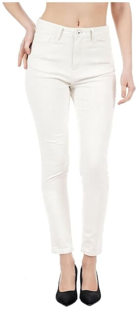 Pepe Jeans Women Skinny Fit High Rise Solid Jeans - White