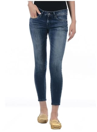 2af1c47abcc22 Buy Pepe Jeans Women Super Skinny Fit Low Rise Solid Jeans - Blue ...
