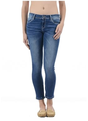 Pepe Jeans Women Skinny Fit Mid Rise Solid Jeans - Blue