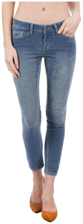 Pepe Jeans Women Skinny Fit Low Rise Solid Jegging - Blue