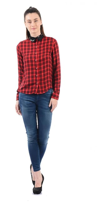 Pepe Pepe Jeans Women Jeans Checkered Shirt dHzqd