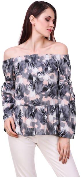 Luxury Living Women Printed Peplum top - Grey