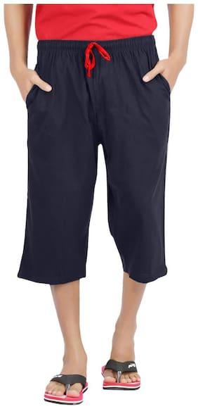 PepperSpirit Mens Navy Cotton Zipper 3/4th Shorts