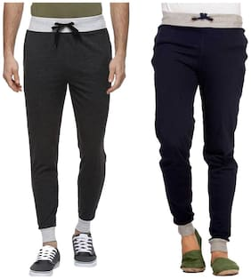 PepperSpirit Mens MultiColor Pack of 2 Cotton Cuff Zipper Pocket Trackpant-Black and Navy Blue
