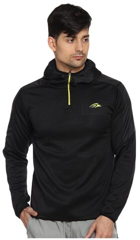 PERF Black Polyester Transfer Sweat Jacket For Men