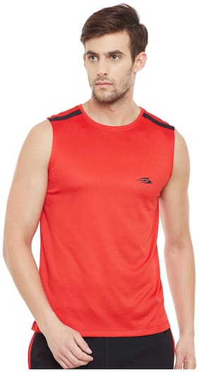 PERF Men Red Regular fit Sports T-Shirt