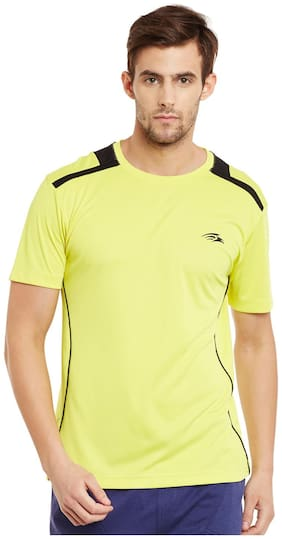 PERF Men Yellow Regular fit Sports T-Shirt