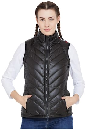 PERF Women Solid Bomber Jacket - Black