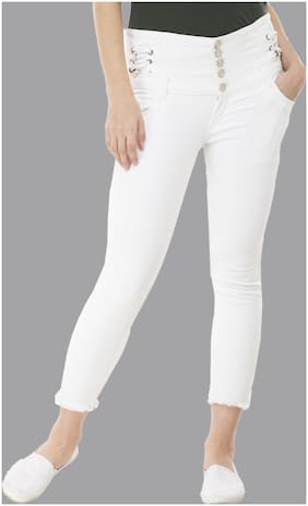Perfect Outlet Women Skinny fit High rise Ripped Jeans - White