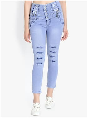 Perfect Outlet Women Skinny fit High rise Ripped Jeans - Blue