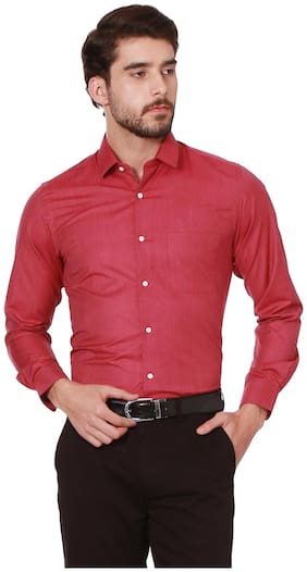 Peter England Men Slim fit Formal Shirt - Red