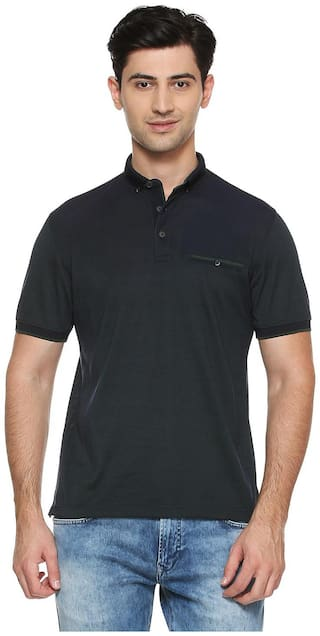Peter England Men Black Slim fit Cotton Blend Polo collar T-Shirt - Pack Of 1