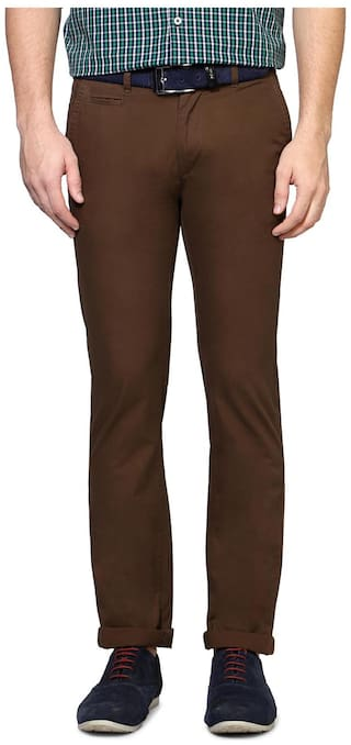 Peter England Cotton Brown Solid Ultra Slim Fit Casual Trouser