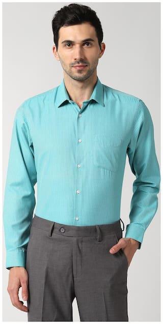 Peter England Men Regular fit Formal Shirt - Green