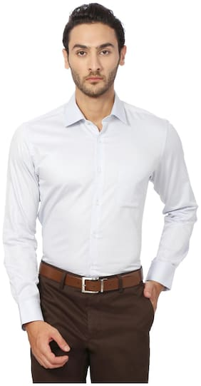 Peter England Cotton Slim White Formal Shirts