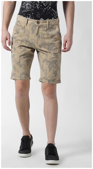 Peter England Men Beige Slim Fit Chinos Shorts