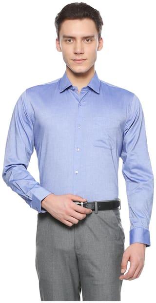 Peter England Men Regular Fit Formal Shirt - Blue