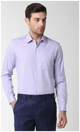 Peter England Men Slim Fit Formal Shirt - Purple