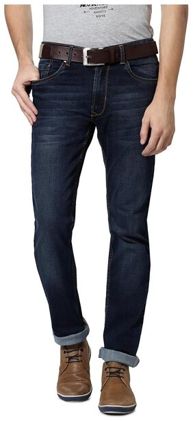 Peter England Cotton Blend Blue Solid Slim Fit Jeans