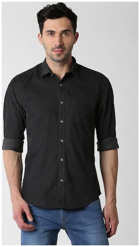 Peter England Men Slim Fit Casual shirt - Black
