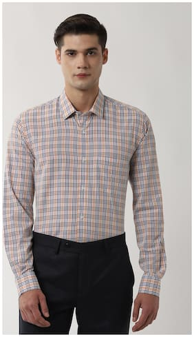 Peter England Men Regular fit Formal Shirt - Beige